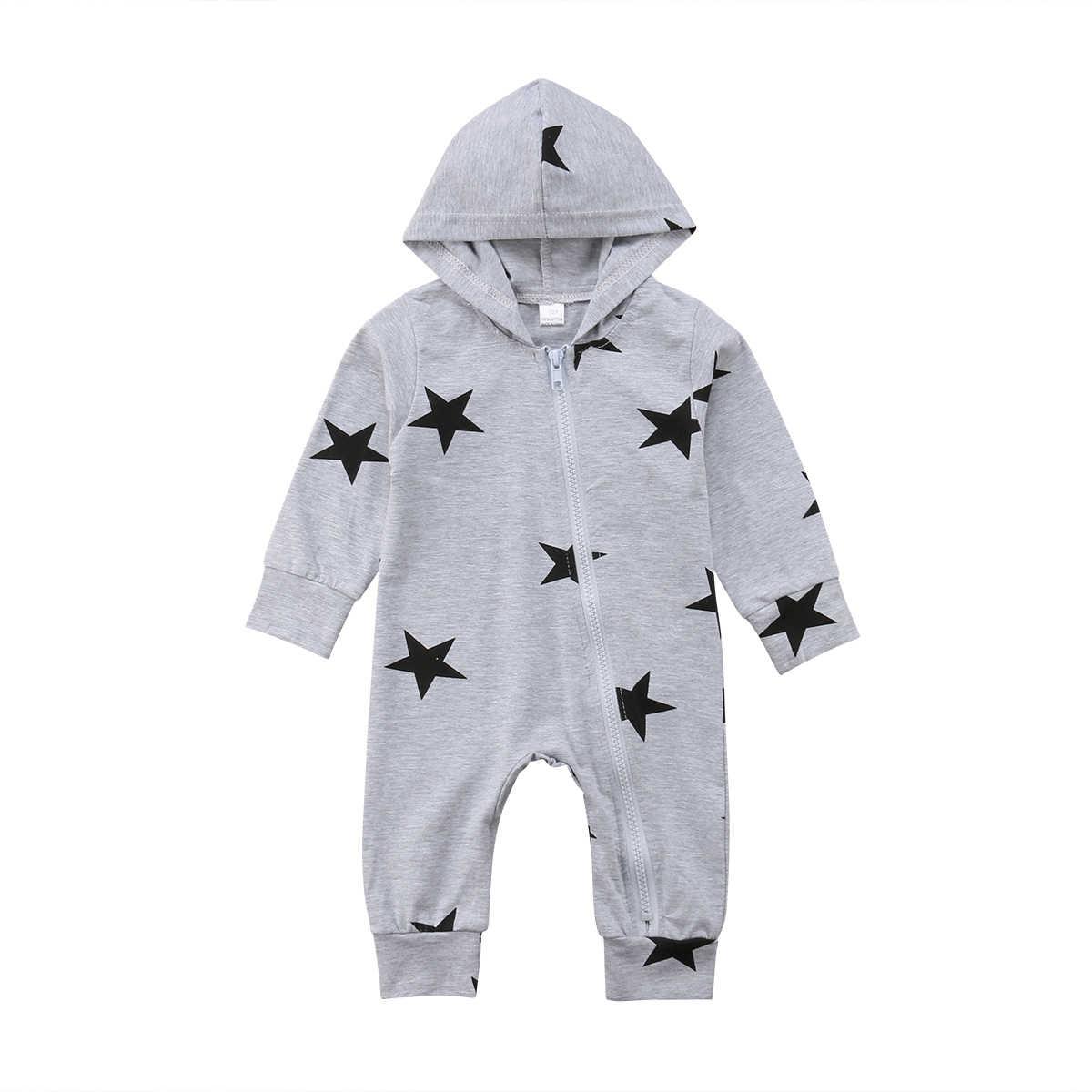 Комбинезоны для новорожденных мальчиков и девочек; сезон осень-зима; комбинезоны со звездами с капюшоном для малышей; хлопковый комбинезон для малышей; Модная одежда для малышей; костюм