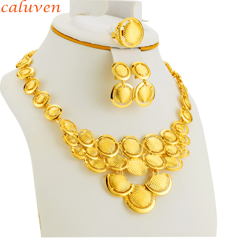 Ethiopian Jewelry Gold Color African Jewelry Sets Gold Earring/Ring/Necklace Eritrea/Habesha Women Wedding Bride