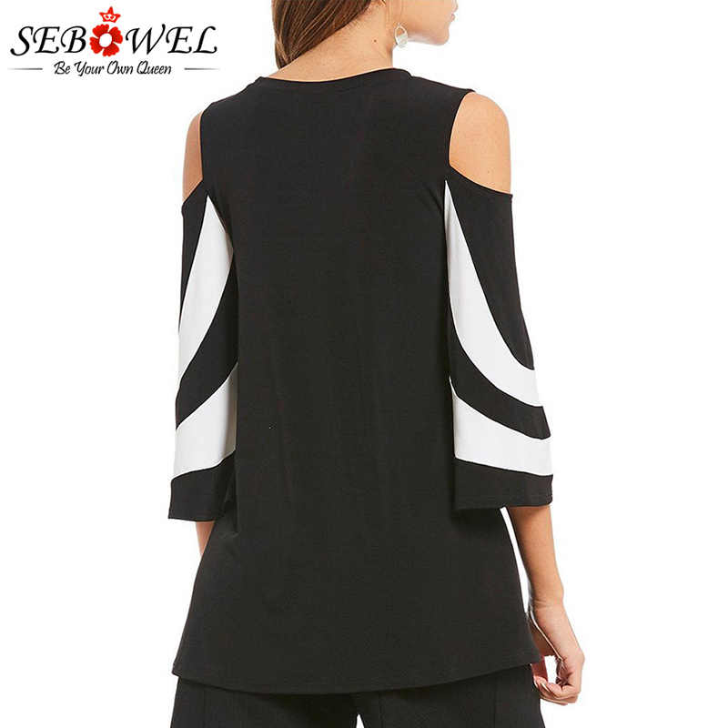 dd7e53a4ac3c99 ... SWBOWEL Plus Size Black Colorblock Women Blouse Sexy Off Shoulder Women  Tops and Blouses Long Sleeve ...