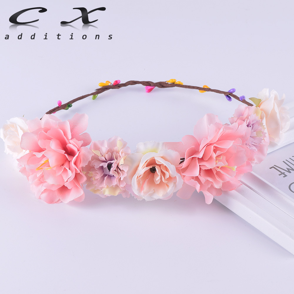 CXADDITIONS Rose Carnation Peony Flower Crown Bridal Floral Headband Wreath Wedding HairBands Hair Accessories Women Bridesmaid