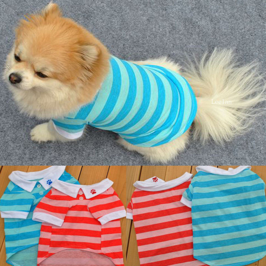 2017 new arrival 2 color Cotton Lapel Stripe summer t-shirt vest cheap puppy clothes Pet Dog Clothes for small dogs summer hot
