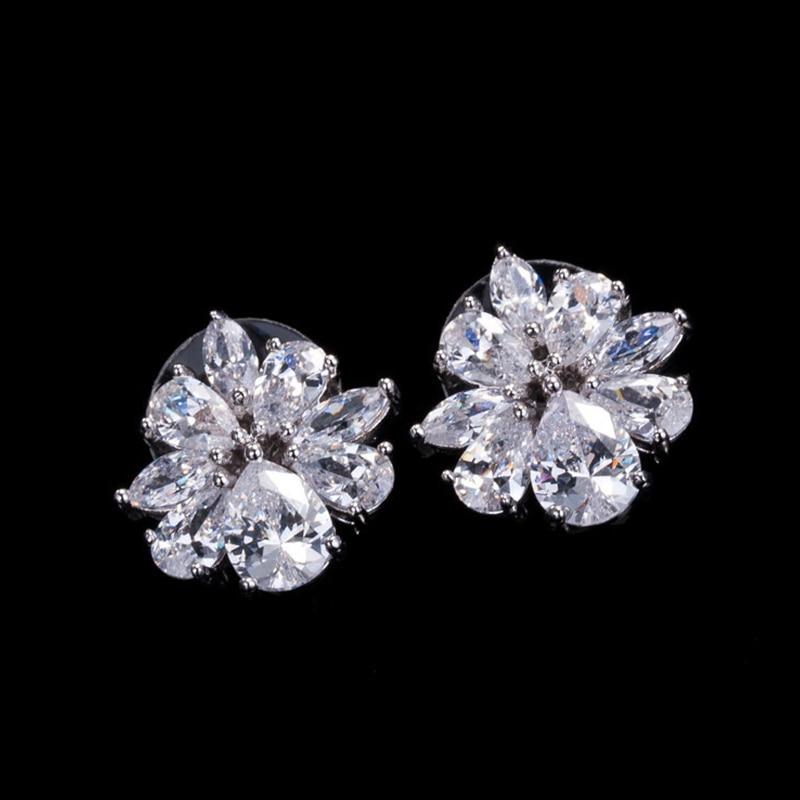 DOKOL Vynikající náušnice pro ženy šumivé AAA + kubické zirkony náušnice stříbrný barevný květ šperky šperky párty DKE0015
