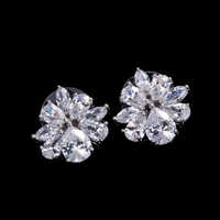 DOKOL Exquisite Stud Earrings for Women Sparkling AAA+ Cubic Zirconia Earring Silver Color Flower Jewelry Party Gift DKE0015