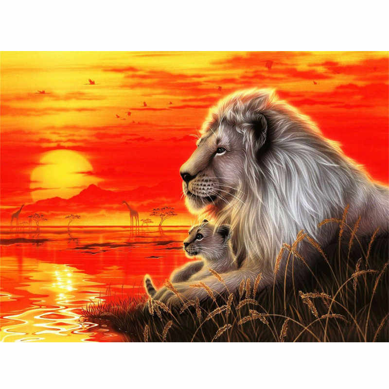 CHUNXIA Framed DIY Painting By Numbers Lion Acrylic Painting Modern Picture Home Decor For Living Room 40x50cm RA3242