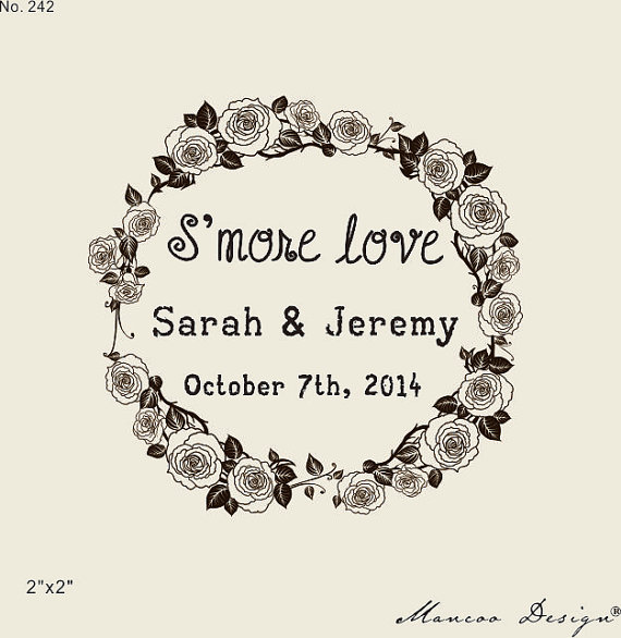 Custom Stamps 2 X2 Smore Love Rubber Stamp For Wedding Favors Floral Crown DIY Favor Personalized In From Home Garden On
