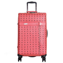 BOLO BRAVE High Quality PU Leather Trolley case Men Business Boarding Women letter Travel Luggage Bags Wheels Suitcase Bag Pink