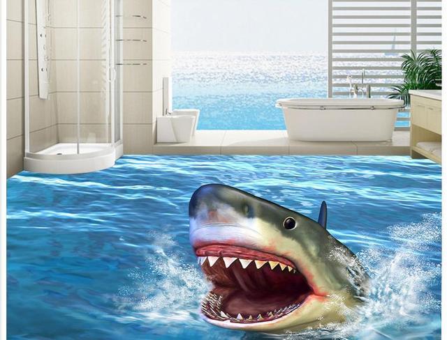 3 D Fototapete kundenspezifische 3d fototapete 3d boden tapete oceanic sharks 3 d