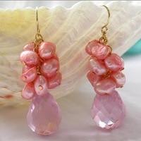 Elegant 100% Genuine Freshwater Pearl Dangle Earrings For Women,Pink Crystal Pearl Jewellery