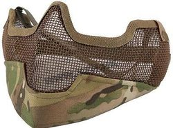 FACE MASK AIRSOFT STRIKE V2 STEEL HALF FACE MESH MASK WITH EAR PROTECTION MULTICAM MTP CP