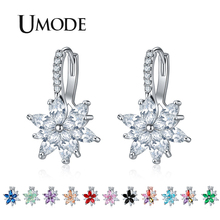 UMODE 2019 New Colorful Zircon Flower Drop Earrings for Women Rose White Gold CZ Crystal Jewelry Boucle D'oreille Femme AUE0578 цены