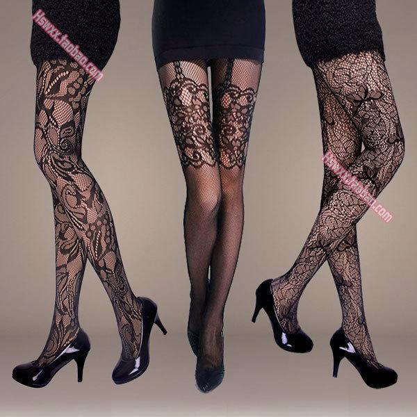 El envío libre de Corea Del Sur a base de barras invisibles ultrafinos retro tatuaje rodilla Jacquard pantalones era delgada hollow net medias negro s