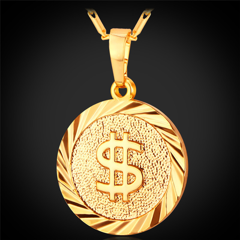 3c2e47f8223b2 U7 Coin Necklace Men/Women Fashion Jewelry Yellow Silver/Gold Color Round  Medal Money Sign US Dollar Necklaces & Pendants P619