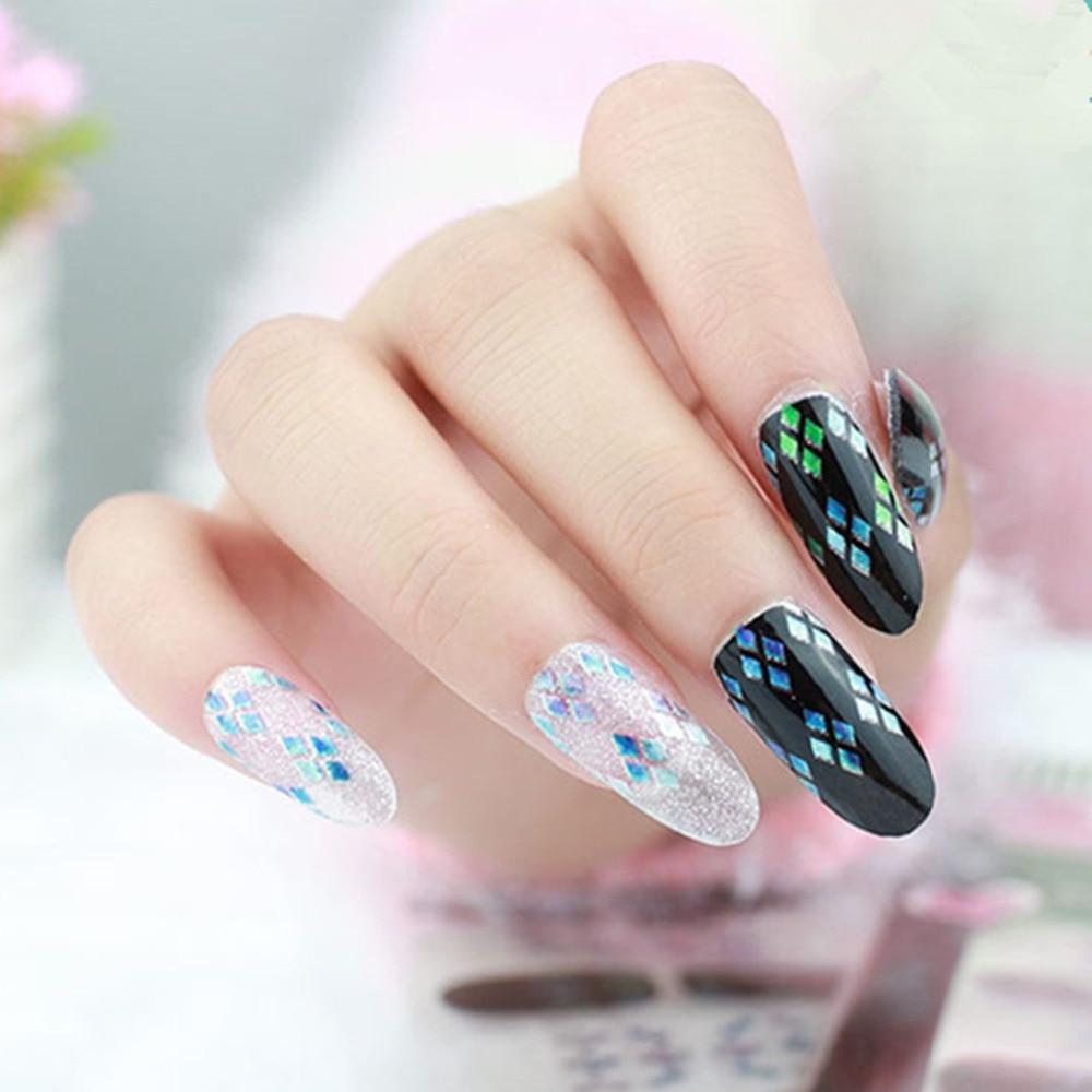 Glitter Nail Wraps Shimmer Nails Art Full Stickers Laser Broken