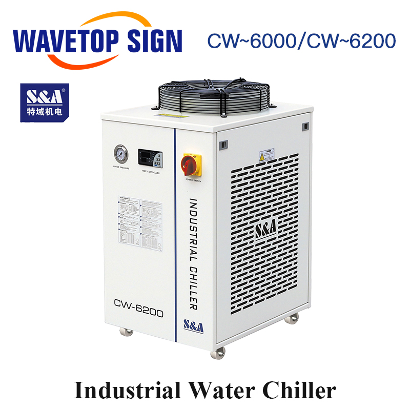 WaveTopSign S&A CW-6000AH CW-6200AH CW-6200BI Industry Air Water Chiller use for <font><b>300W</b></font> 600W <font><b>Co2</b></font> Glass <font><b>Laser</b></font> <font><b>Tube</b></font> Water Chillers image