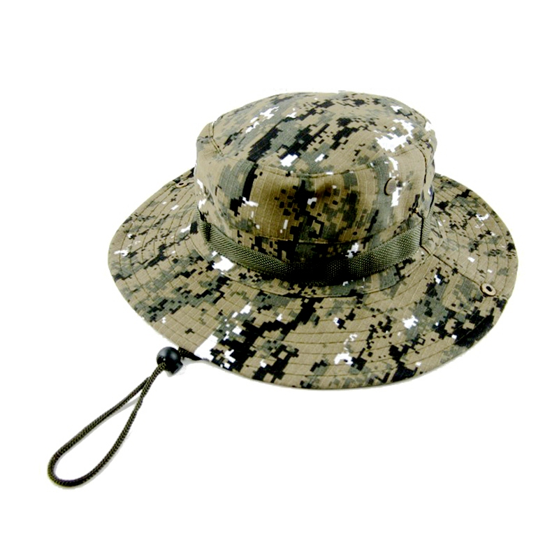 865bee5a063 Cycling Caps Camouflage Bucket Hat Fishing Cap With String Men Women  Fisherman Cap Military Safari Boonie Sun Wide Hats-in Cycling Caps from  Sports ...