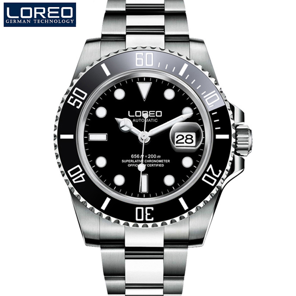 LOREO Mens Watches Top Brand Luxury Sapphire Luminous Automatic Mechanical Wristwatches Diver 200M Men Watch Relogio Masculino