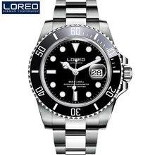 d74785c0af33 Loreo mens relojes Top marca de lujo de zafiro luminoso reloj mecánico automático  relojes Diver 200 m hombres reloj Relogio Masc.