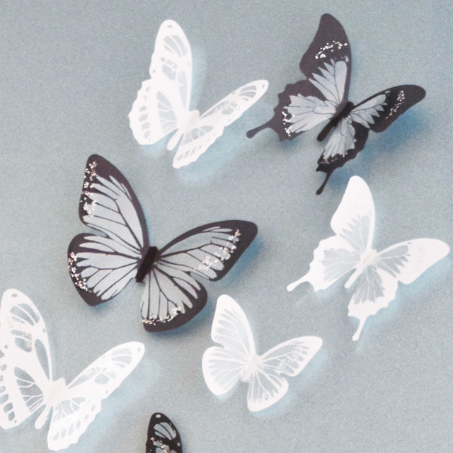 18Pcs Black and white crystal butterfly 3D Wall Stickers PVC ...