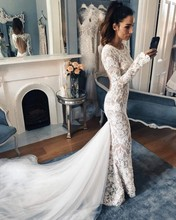 2019 Newest Lace Mermaid Wedding Dress Vintage Long Sleeve Vestido De Noiva Sexy Backless Bridal Gowns Muslim Wedding Dresses