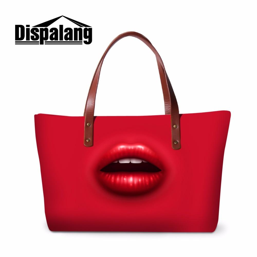 b7c5540de12e US $25.99 40% OFF|Dispalang designer women handbags large capacity  messenger bags sexy red lips print ladies hand bags top handle bag beach  bag-in ...