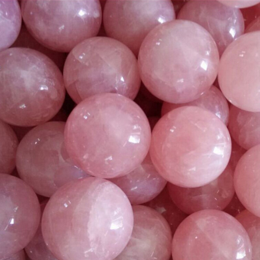 20mm Healing Crystal Natural Pink Rose Quartz Gemstone Ball Wedding Decor Divination Sphere Collection