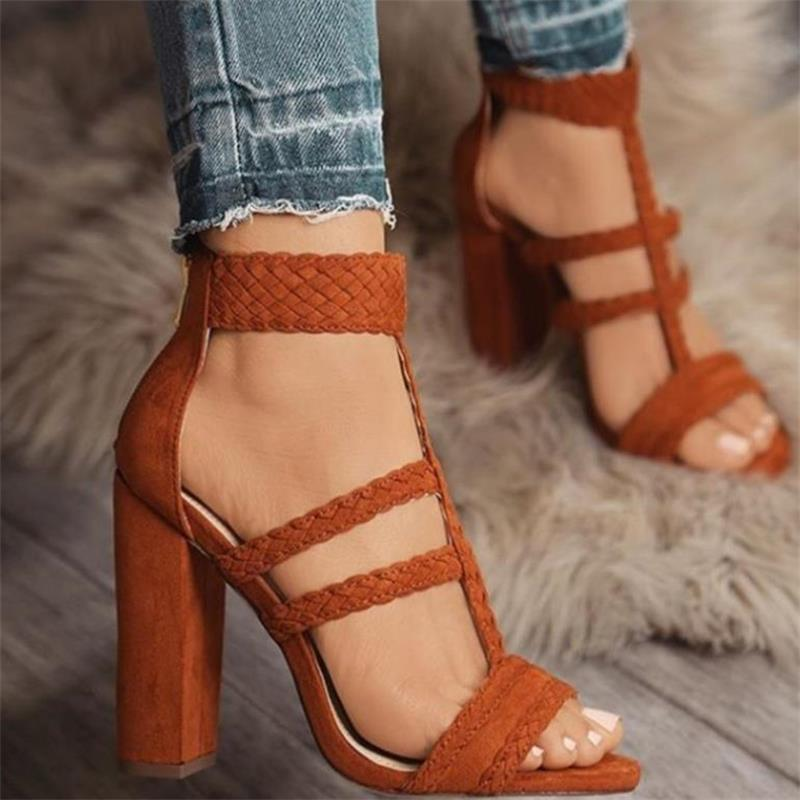 ff5e897e114 HiHopGirls Size 42 Gladiator High Heels Women Sandals Sexy Braided Foot  Ring Ankle Strap Rome Open Toe Shoes Thick Block Heel -in High Heels from  Shoes on ...