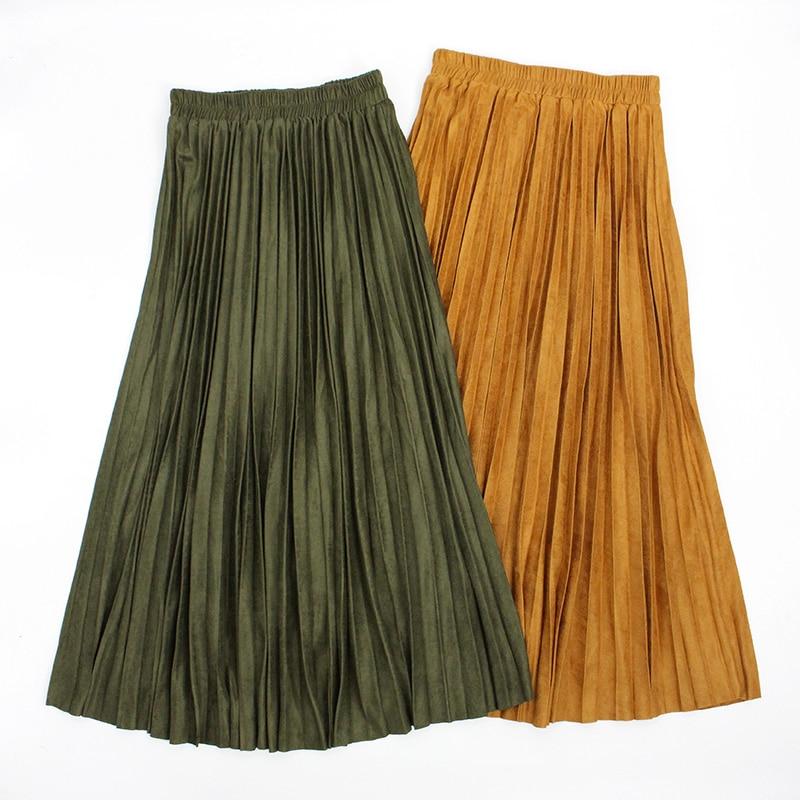Automne hiver femmes Jupe Longue Jupe Longue en daim jupes plissées une ligne Maxi Jupe kaki taille élastique Jupe Plissee Femme