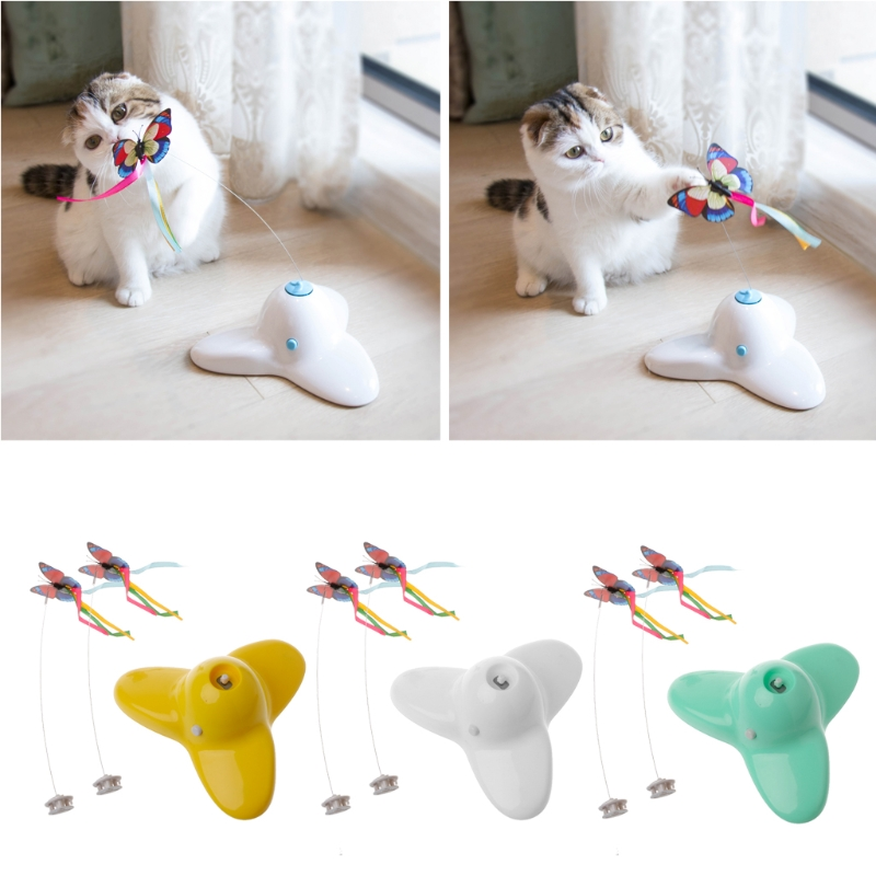 NEW Electric Rotating Butterfly Cat Toys Two Flashing Interactive Cat Teaser Toy