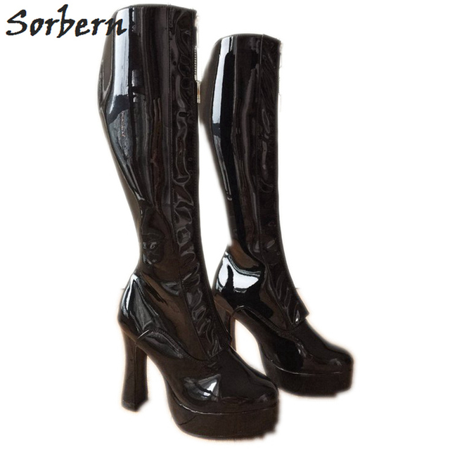e13891b5252 Sorbern Lockable Zipper Knee High Boots Women Chunky Heels 12Cm Thick  Platform Shoes Personalized Wide Fit Calf Boots Unisex