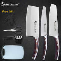 Sowoll 6pcs Stainless Steel Knife Set 7'' Chopping 6'' Chef 5'' Utility Knives Scissor Knife Sharpener Vegetable Cutting Board
