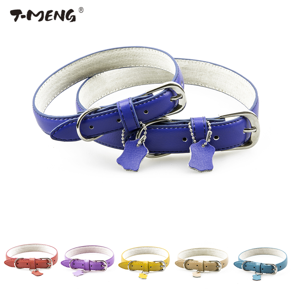T-MENG Pet Products Genuine Leather Dog Collar Small Medium Large Dog Collars Solid Soft Neck Strap Cat Collar Tag Dog Supplies