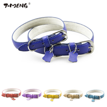 T-MENG Pet Products 6 Colors Genuine Leather Dog Collar For Small Medium Large Dogs Soft Neck Strap Accessories Supplier