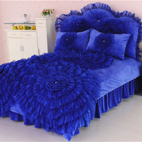 Korean Winter coral fleece piece set thickening thermal lace flower 1.5m/1.8m/2m bed crystal velvet flannel duvet cover