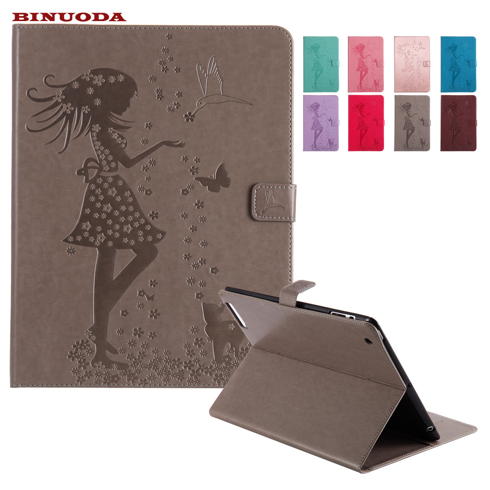 For Coque Case iPad 2nd 3rd 4th Generation Woman and Cat Embossed Flip Folding PU Leather Magnetic Closure Smart Cover for iPad2