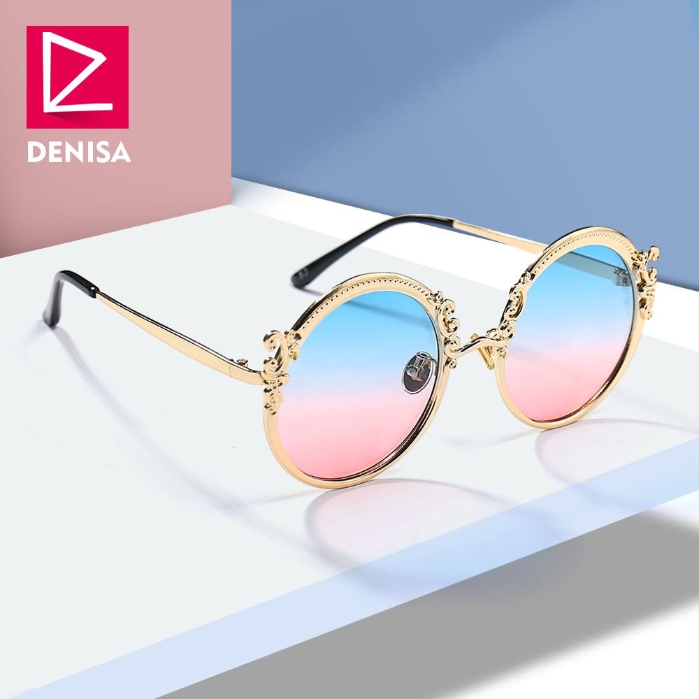 DENISA Fashion Steampunk Round <font><b>Sunglasses</b></font> Women Men <font><b>Gold</b></font> Frame Vintage Sun Glasses Ladies UV400 lunette de soleil femme G18430