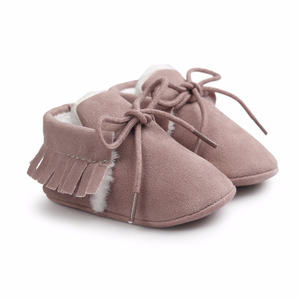 Autumn Winter Frosted Texture Soft Bottom Tassel Toddler Shoes By Hand Baby Shoes Cotton Shoes Keep Warm Lace Up First Walkers in First Walkers from Mother Kids