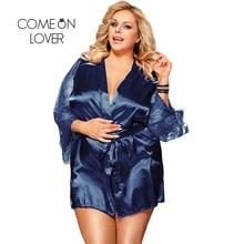 Comeonlover נשים גלימות הלבשת תחרה סאטן סקסי Conjunto חלוק תחתונית עם מותניים חגורה בתוספת גודל 5XL הכלה חלוק RE80556