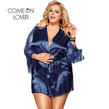 Comeonlover Womens Robes Nachtkleding Kant Satijn Sexy Conjunto Robe Chemise Met Taille Riem Plus Size 5XL Bruid Badjas RE80556