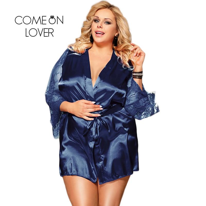 Comeonlover Womens Robes Sleepwear Lace Satin Sexy Conjunto Robe Chemise With Waist Belt Plus Size 5XL Bride Bathrobe RE80556Robes   -