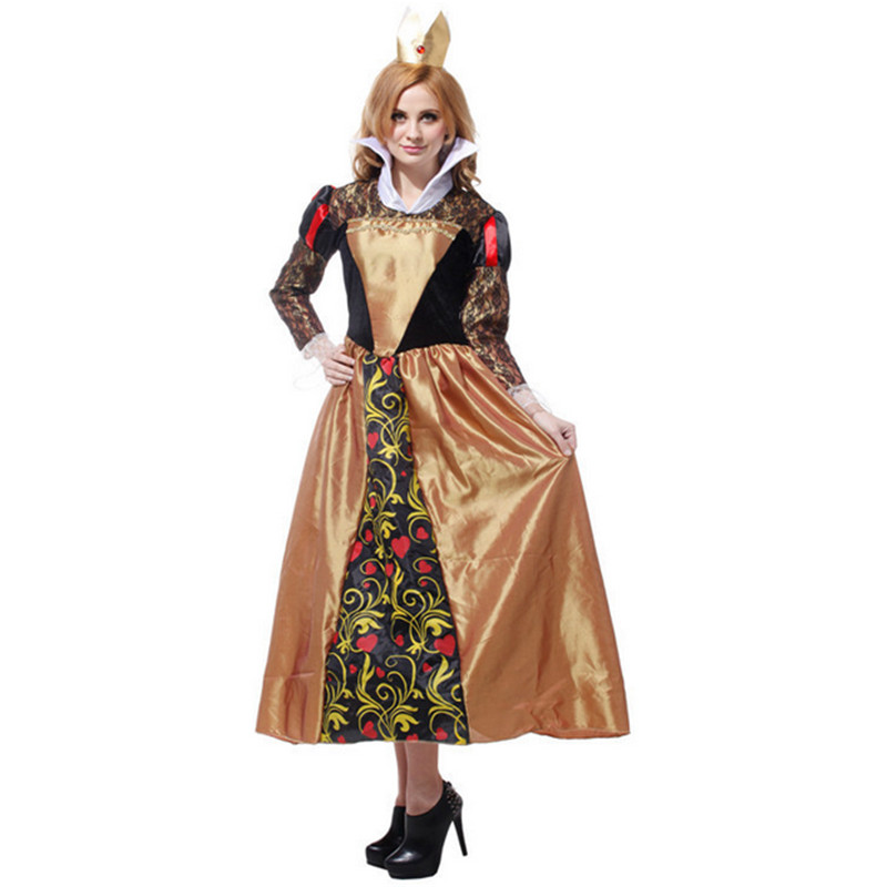 2018 new quality Long sleeve queen of hearts cosplay dress adult Alice In Wonderland queen of hearts costume halloween costumes