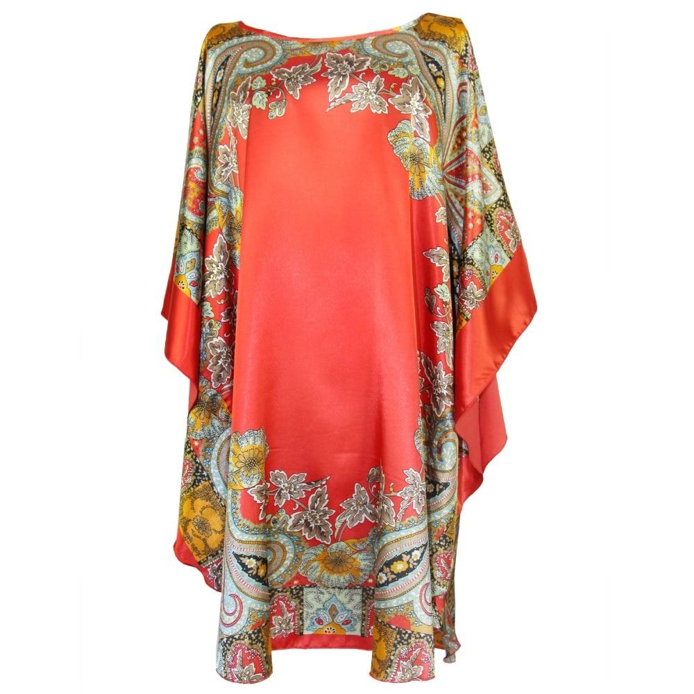 Red Rayon Women Print Flower Nightdress Robe Dress Loose Summer New Sleepwear Sexy Lingerie Home Wear Bath Gown Nightgown