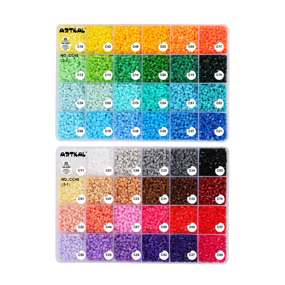 artkal contas c 2 6mm 48 caixa de cor conjunto diy joias moda kits perler hama