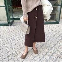 Long Knitting Skirts Women Side Slip Stretchy Wrap Skirt Elastic Waist Fashion Button Casual Retro Skirts