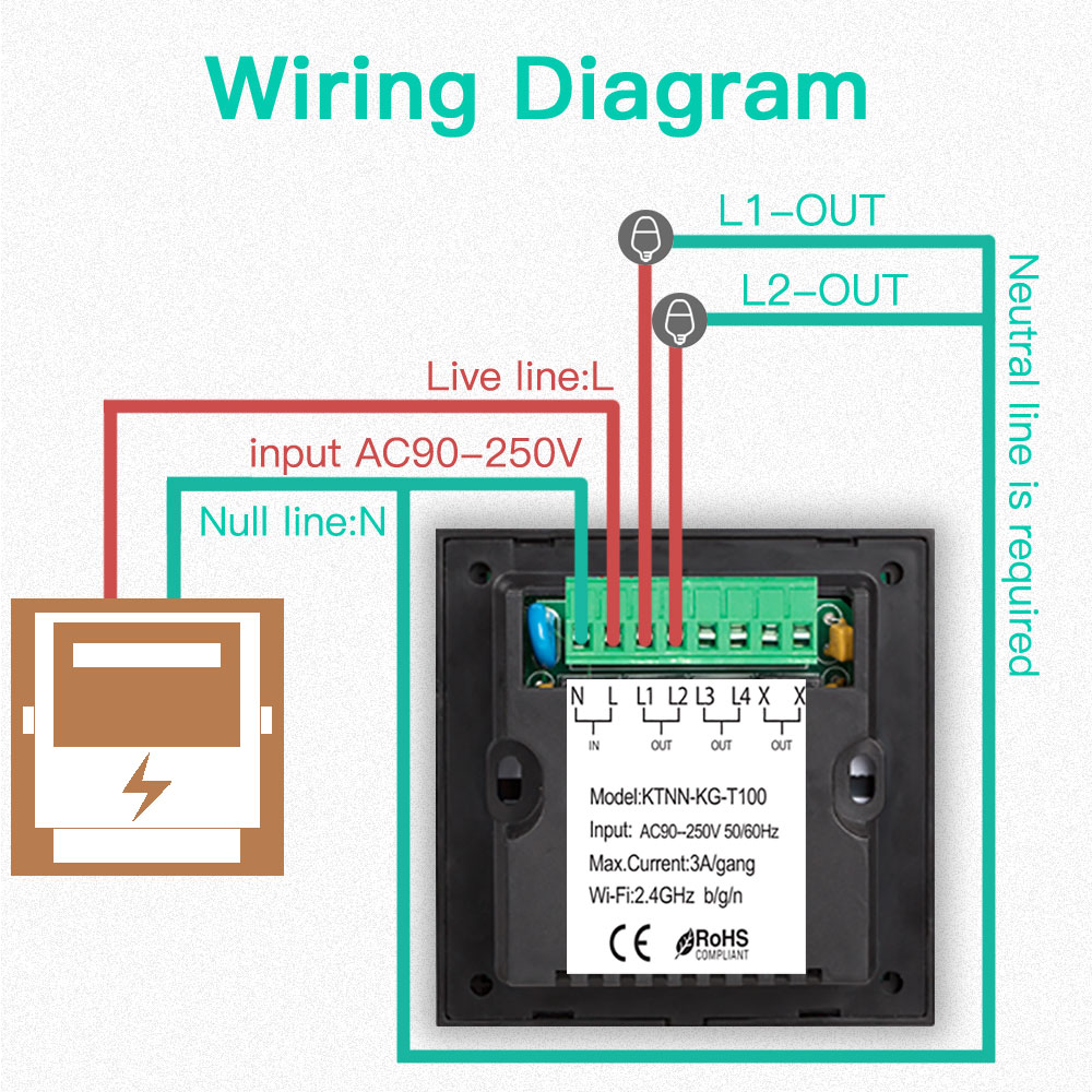 Ktnnkg Uk Standard 2ch Smart Wifi App Touch Screen Switch Wall Light Wiring Diagram Control For Home Operating Voltage Ac90 250v In Automation Modules From
