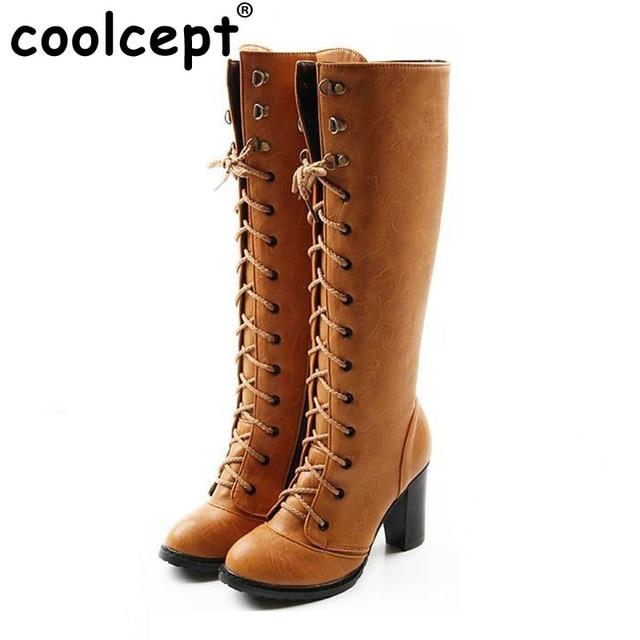 Size 35-43 Women Over Knee Boots Cross Strap High Heel Winter Botas Feminina Fashion Zipper Warm Long Boot Footwear Shoes AH103