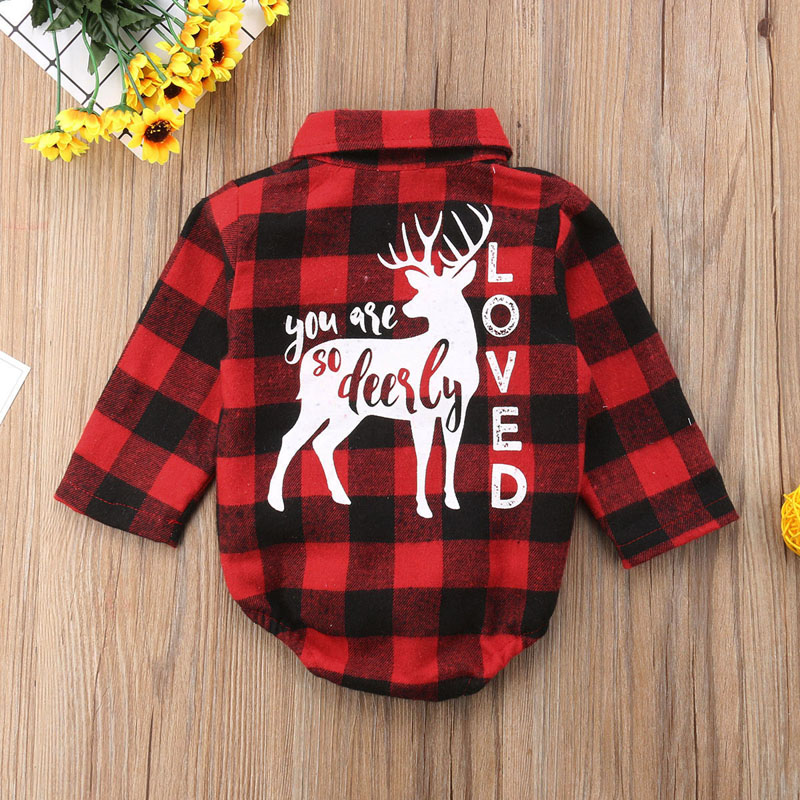 FOCUSNORM Xmas Newborn Kids Baby Girl Boy Christmas Elk Romper Long Sleeve Jumpsuit Outfits Clothes