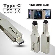 Chyi OTG Тип c USB 3.0 Flash Drive 16/32/64 ГБ флешки Планшетные ПК смартфон USB3 memory stick Тип-C 3.1 накопитель двойной разъем