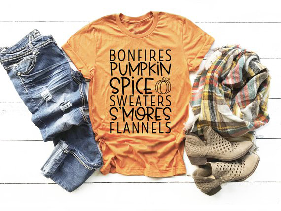 35262f7df79a Bonfires Pumpkin Spice Sweaters S Mores Flannels Fall Words T-Shirt White shirts  Fall