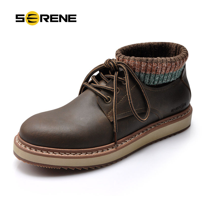 SERENE Handmade Winter Warm Socks Boots Fashion British Style Leather Retro Tooling Ankle Men Shoes Size38-44 Snow Male Footwear british style vintage men ankle boots genuine leather male tooling boots riding equestrian lace up autumn winter 2 5