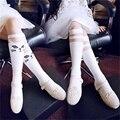 Baby Kids High Knee Socks School Cartoon Cat Lace Solid Stockings Leg Warmer For Girls